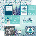 Echo Park - Hello Winter Collection - 12 x 12 Double Sided Paper - Journaling Cards
