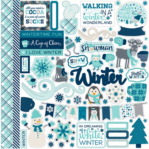 Echo Park - Hello Winter Collection - 12 x 12 Cardstock Stickers - Elements