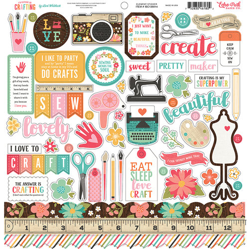 Echo Park - I'd Rather Be Crafting Collection - 12 x 12 Cardstock Stickers - Elements