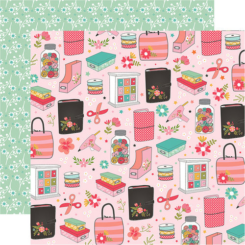 Echo Park - I Heart Crafting Collection - 12 x 12 Double Sided Paper - Crafty and Happy