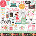 Echo Park - I Heart Crafting Collection - 12 x 12 Cardstock Stickers - Elements