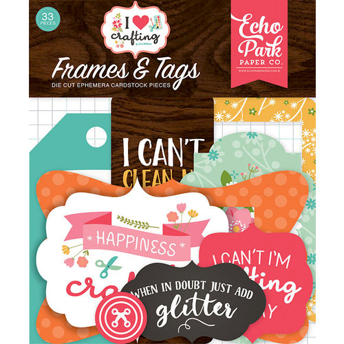 Echo Park - I Heart Crafting Collection - Ephemera - Frames and Tags