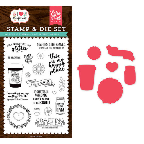 Echo Park - I Heart Crafting Collection - Designer Die and Clear Acrylic Stamp Set - Just Add Glitter