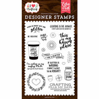 Echo Park - I Heart Crafting Collection - Clear Photopolymer Stamps - Just Add Glitter