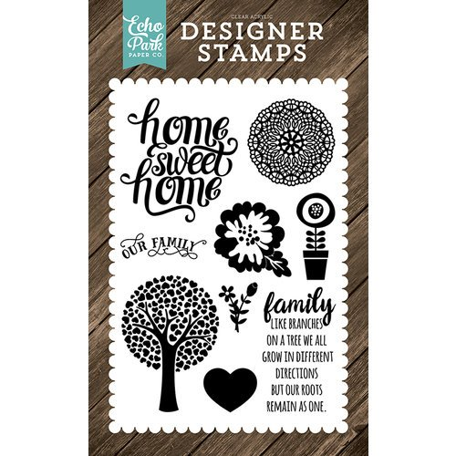 Echo Park - I Love Family Collection - Clear Acrylic Stamps - Family Home