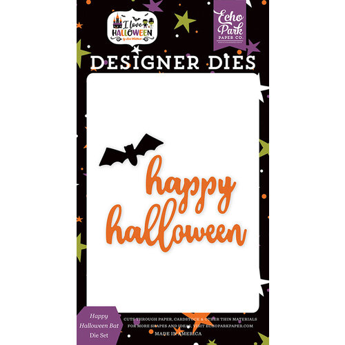Echo Park - I Love Halloween Collection - Designer Dies - Happy Halloween Bat
