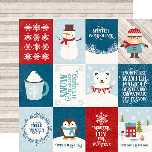 Echo Park - I Love Winter Collection - 12 x 12 Double Sided Paper - 3 x 4 Journaling Cards
