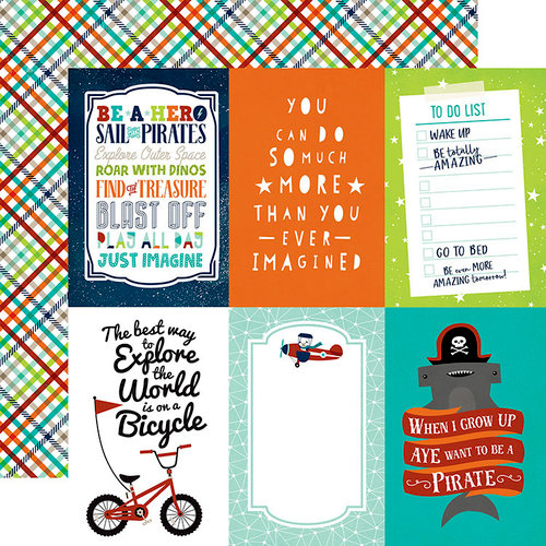 Echo Park - Imagine That Boy Collection - 12 x 12 Double Sided Paper - 4 x 6 Journaling Cards