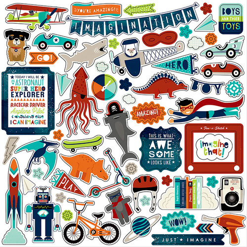 Echo Park - Imagine That Boy Collection - 12 x 12 Cardstock Stickers - Elements