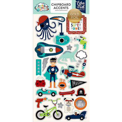 Echo Park - Imagine That Boy Collection - Chipboard Stickers with Foil Accents - Accents