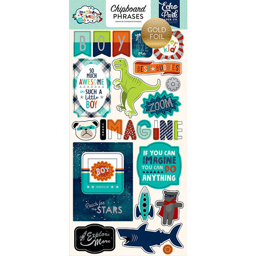 Echo Park - Imagine That Boy Collection - Chipboard Stickers with Foil Accents - Phrases