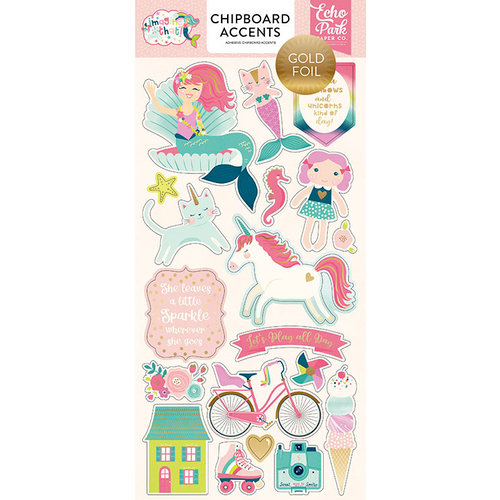 Echo Park - Imagine That Girl Collection - Chipboard Stickers with Foil Accents - Accents