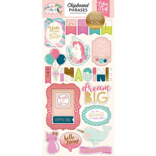 Echo Park - Imagine That Girl Collection - Chipboard Stickers with Foil Accents - Phrases