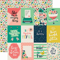 Echo Park - Just Be You Collection - 12 x 12 Double Sided Paper - 3 x 4 Journaling Cards