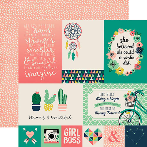 Echo Park - Just Be You Collection - 12 x 12 Double Sided Paper - 4 x 6 Journaling Cards