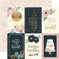 Echo Park - Just Married Collection - 12 x 12 Double Sided Paper with Foil Accents - 4 x 6 Journaling Cards