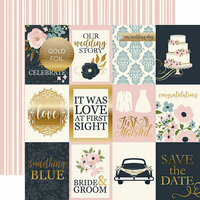 Echo Park - Just Married Collection - 12 x 12 Double Sided Paper with Foil Accents - 3 x 4 Journaling Cards