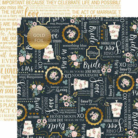 Echo Park - Just Married Collection - 12 x 12 Double Sided Paper with Foil Accents - Something Blue