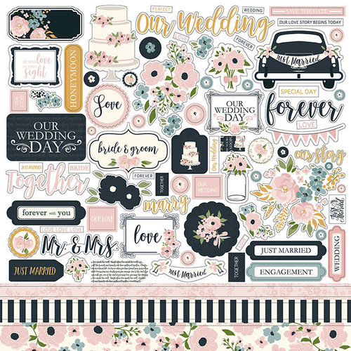 Echo Park - Just Married Collection - 12 x 12 Cardstock Stickers