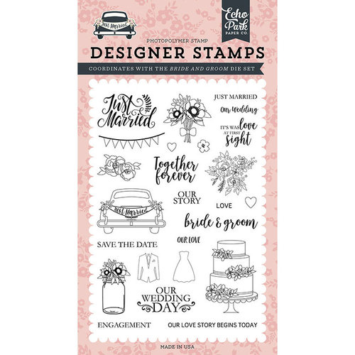 Echo Park - Just Married Collection - Clear Photopolymer Stamps - Bride and Groom