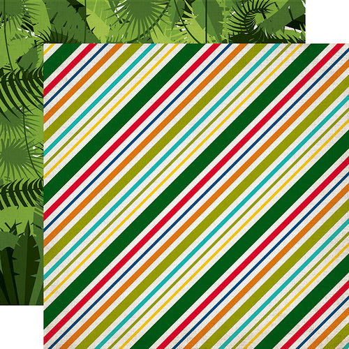 Echo Park - Jungle Safari Collection - 12 x 12 Double Sided Paper - Jungle Stripes