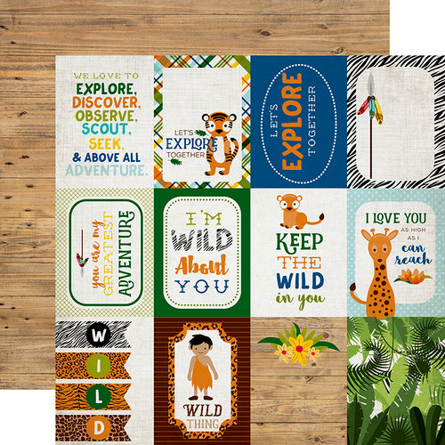 Echo Park - Jungle Safari Collection - 12 x 12 Double Sided Paper - 3 x 4 Journaling Cards