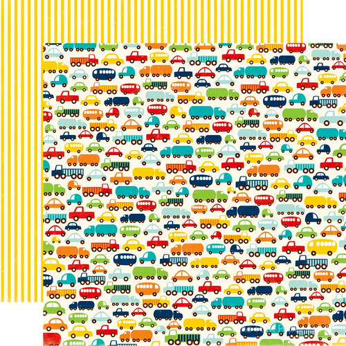 Echo Park - Little Boy Collection - 12 x 12 Double Sided Paper - Vroom!