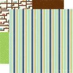 Echo Park - Little Boy Collection - 12 x 12 Double Sided Paper - Boxer Stripe