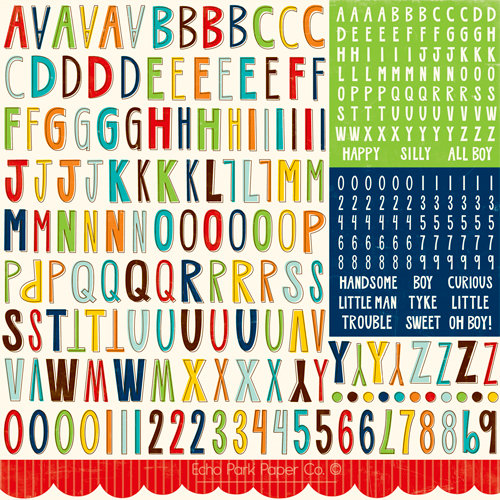 Echo Park - Little Boy Collection - 12 x 12 Cardstock Stickers - Alphabet