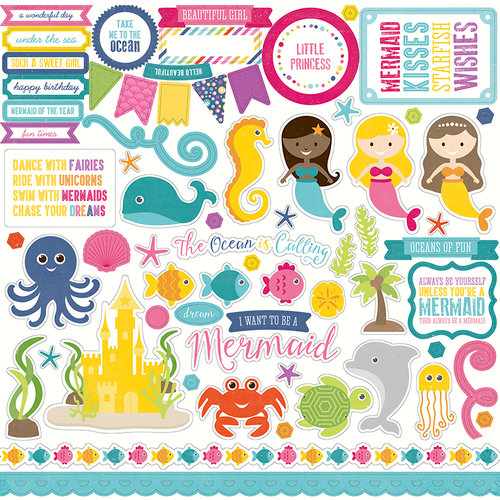 Echo Park - Let's Be Mermaids Collection - 12 x 12 Cardstock Stickers - Elements