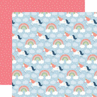 Echo Park - Little Dreamer Girl Collection - 12 x 12 Double Sided Paper - Riding Rainbows