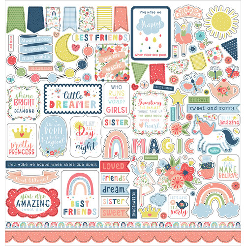 Echo Park - Little Dreamer Girl Collection - 12 x 12 Cardstock Stickers - Elements