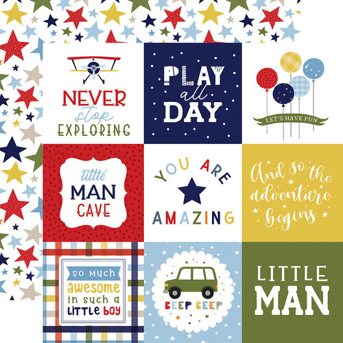 Echo Park - Little Dreamer Boy Collection - 12 x 12 Double Sided Paper - 4 x 4 Journaling Cards