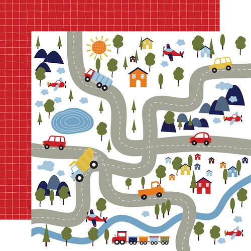 Echo Park - Little Dreamer Boy Collection - 12 x 12 Double Sided Paper - Bumpy Roads