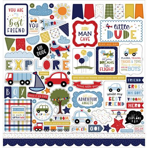 Echo Park - Little Dreamer Boy Collection - 12 x 12 Cardstock Stickers - Elements