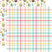 Echo Park - I Love Easter Collection - 12 x 12 Double Sided Paper - Easter Plaid