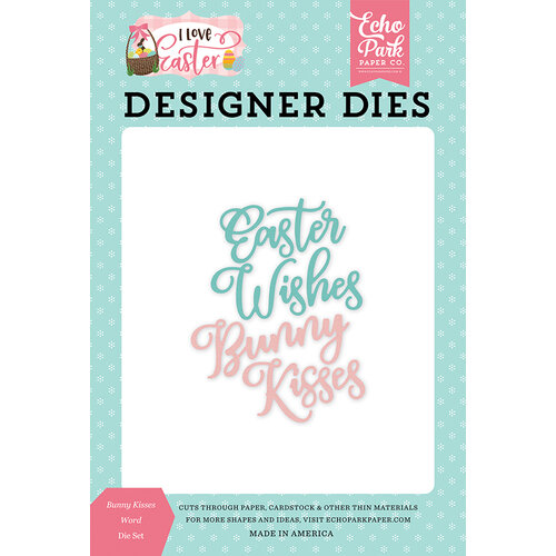 Echo Park - I Love Easter Collection - Decorative Dies - Bunny Kisses Word