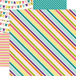 Echo Park - Little Girl Collection - 12 x 12 Double Sided Paper - Suzy Stripe, CLEARANCE