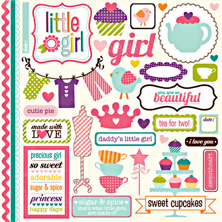 Echo Park - Little Girl Collection - 12 x 12 Cardstock Stickers - Element
