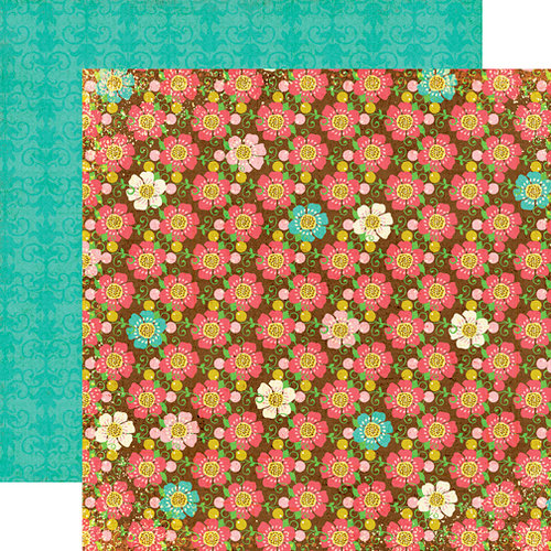 Echo Park - Life is Good Collection - 12 x 12 Double Sided Paper - Brown Floral, CLEARANCE
