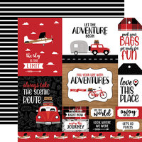 Echo Park - Let's Go Anywhere Collection - 12 x 12 Double Sided Paper - Multi Journaling Cards