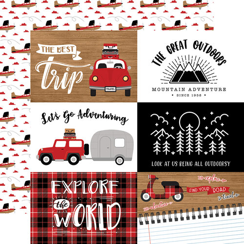Echo Park - Let's Go Anywhere Collection - 12 x 12 Double Sided Paper - 6 x 4 Journaling Cards