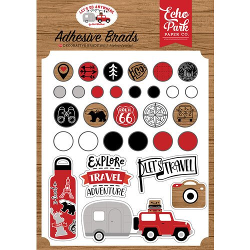 Echo Park - Let's Go Anywhere Collection - Self Adhesive Decorative Brads