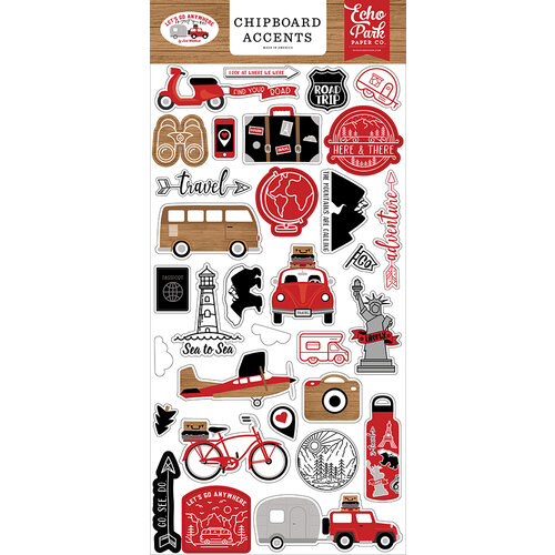 Echo Park - Let's Go Anywhere Collection - Chipboard Stickers - Accents