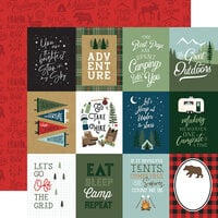 Echo Park - Let's Go Camping Collection - 12 x 12 Double Sided Paper - 3 x 4 Journaling Cards