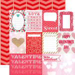 Echo Park - Lucky In Love Collection - 12 x 12 Double Sided Paper - Journaling Cards