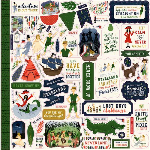 Echo Park - Lost in Neverland Collection - 12 x 12 Cardstock Stickers - Elements