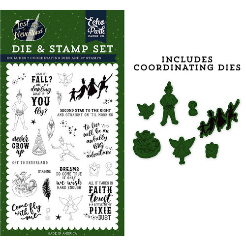 Echo Park - Lost in Neverland Collection - Designer Die and Clear Photopolymer Stamp Set - Never Grow Up