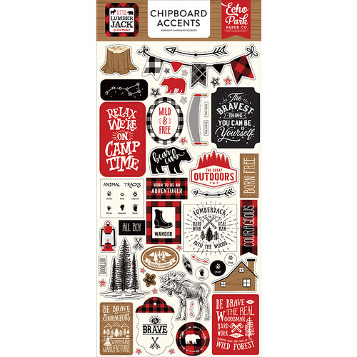 Echo Park - Little Lumberjack Collection - Chipboard Stickers - Accents