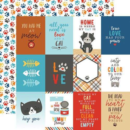 Echo Park - I Love My Cat Collection - 12 x 12 Double Sided Paper - 3 x 4 Journaling Cards
